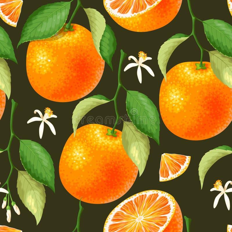 Naadloos patroon met sinaasappel vector illustratie