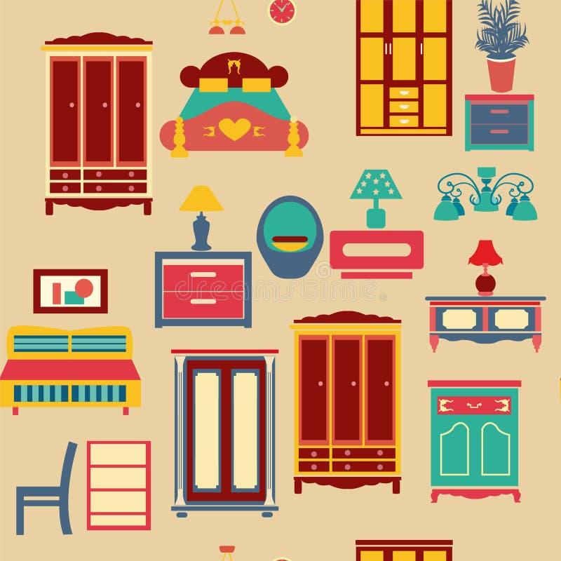 Naadloos patroon met slaapkamer vastgesteld meubilair - illustratie vector illustratie