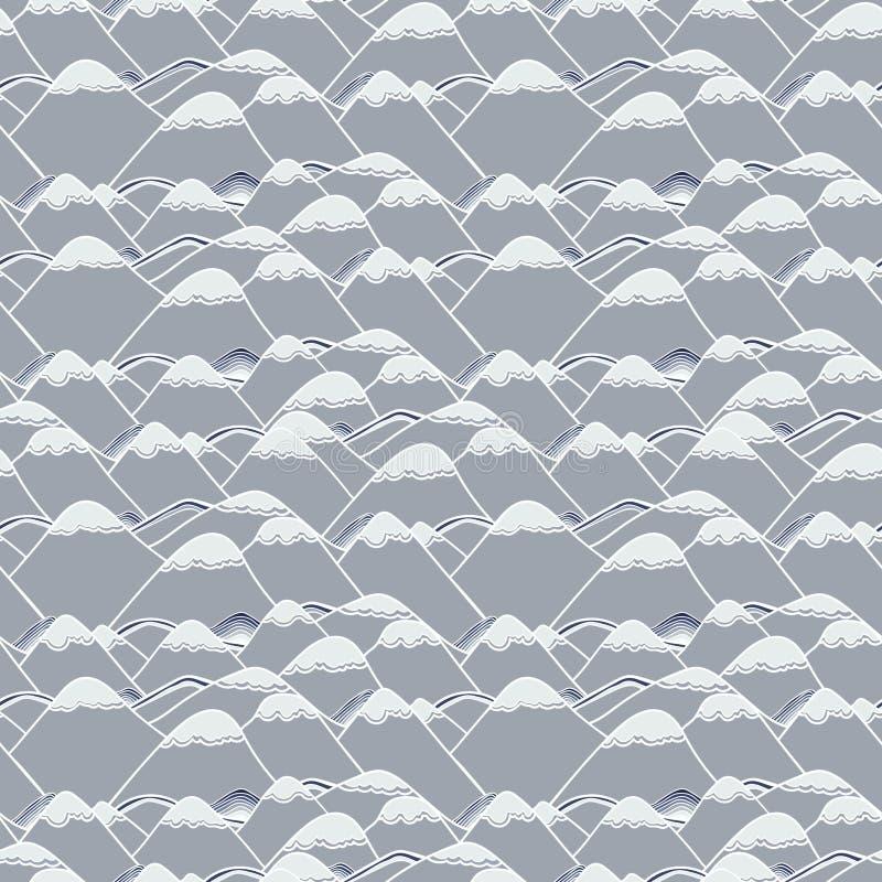 Naadloos patroon met sneeuwbergen vector illustratie