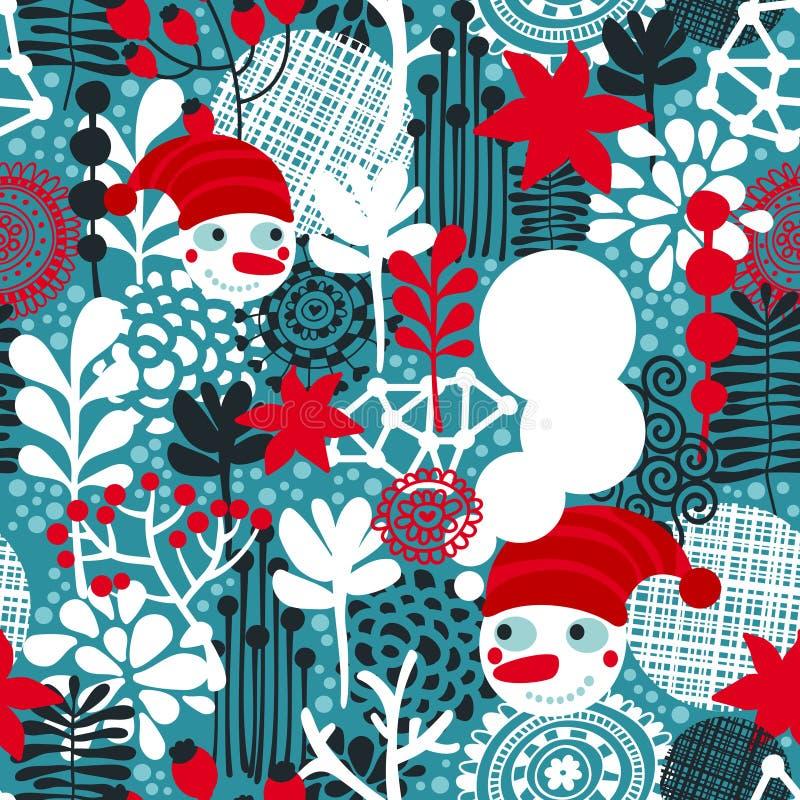 Naadloos patroon met sneeuwman en bloemen. stock illustratie
