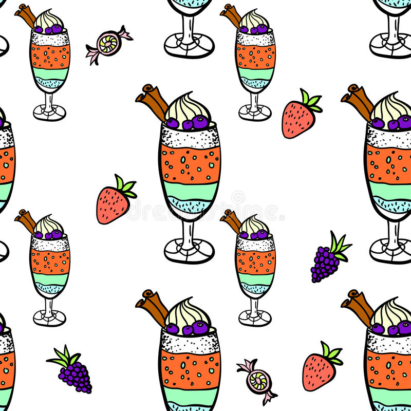 Naadloos patroon met snoepjes stock afbeelding