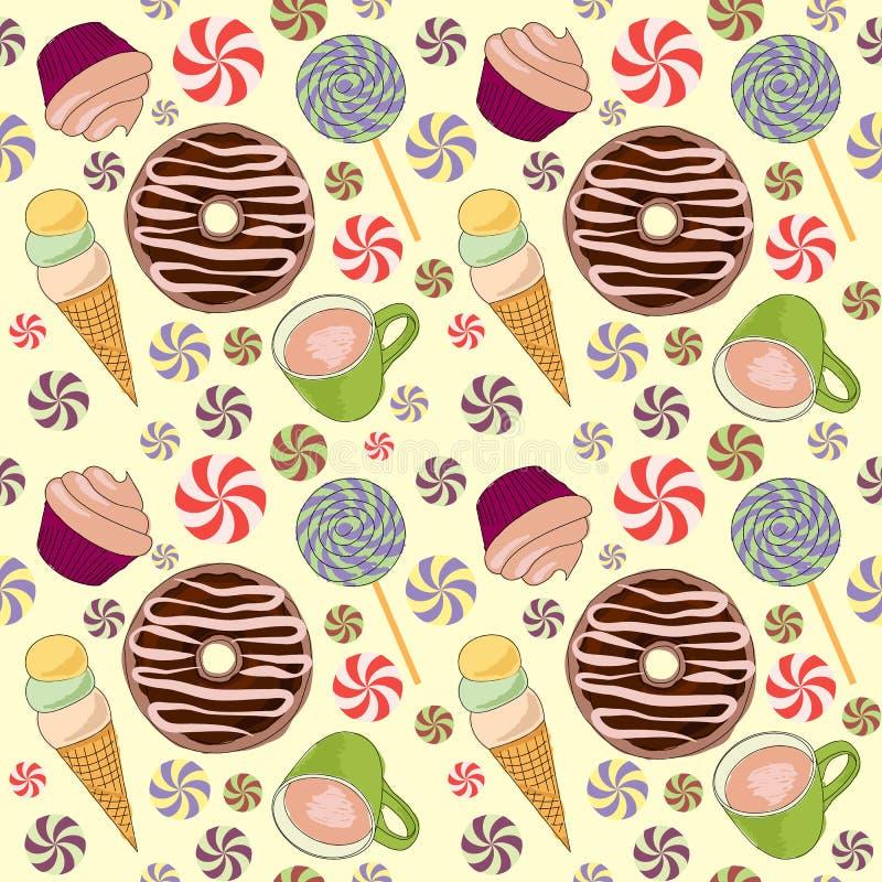 Naadloos patroon met snoepjes royalty-vrije illustratie