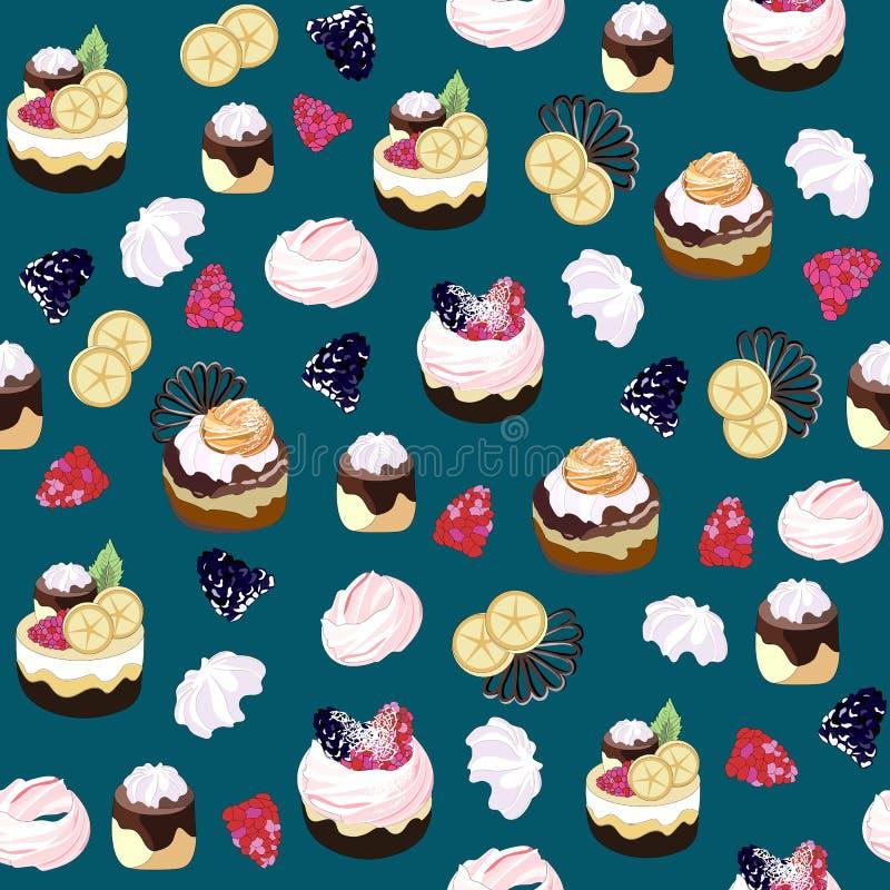 Naadloos patroon met snoepjes Cakes, muffins, pasteien met room, koekjes, bessen, marshmallows, chocolade op een blu-achtergrond stock illustratie