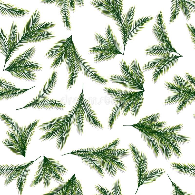 Naadloos patroon met sparren of pijnboomtakken royalty-vrije illustratie