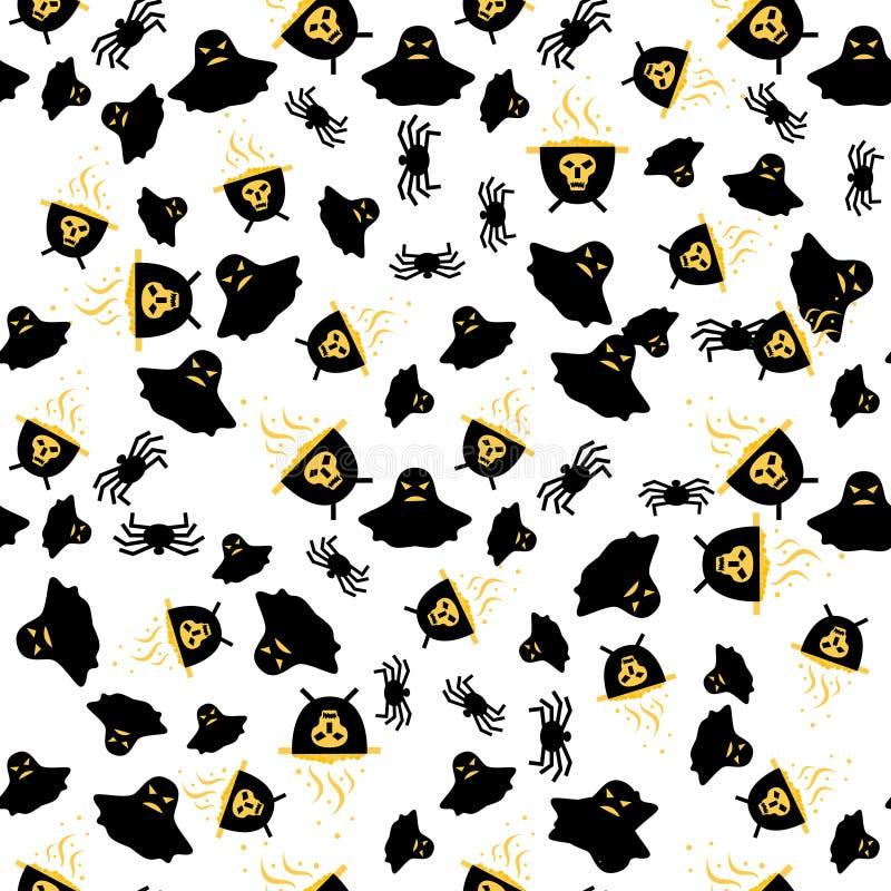 Naadloos Patroon met Spin, Spook en Ketel vector illustratie