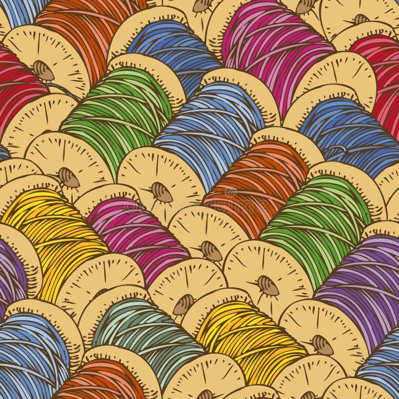 Naadloos patroon met spoelen van draad vector illustratie
