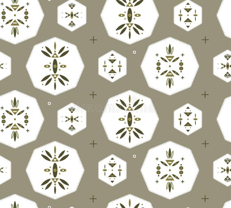 Naadloos patroon met stammen geometrische symbolen royalty-vrije stock afbeeldingen
