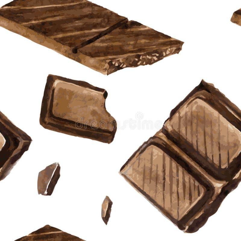 Naadloos patroon met stukken van chocolade royalty-vrije illustratie