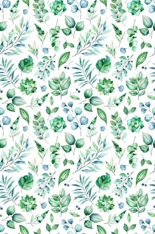 Naadloos patroon met succulente installaties, palmbladen, takken stock illustratie