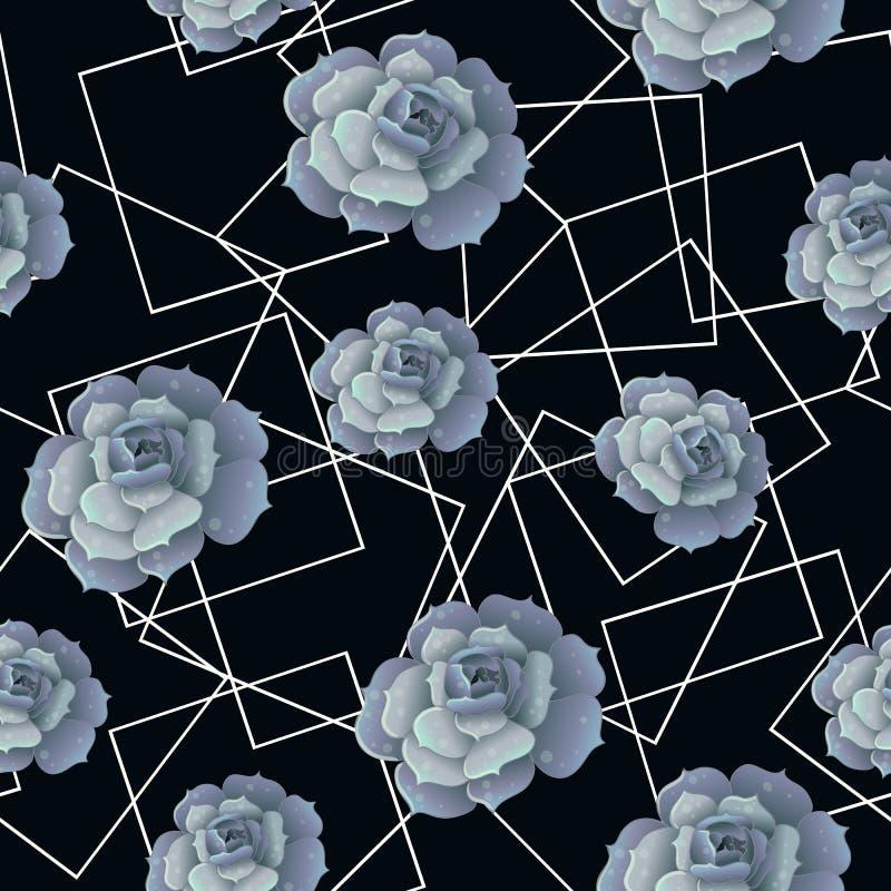 Naadloos patroon met succulents en witte kaders Geometrische en botanische vectorachtergrond royalty-vrije illustratie