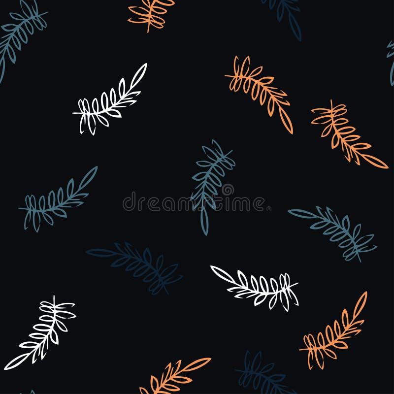 Naadloos patroon met takken Backround met ornament van de takken en de bladeren royalty-vrije illustratie