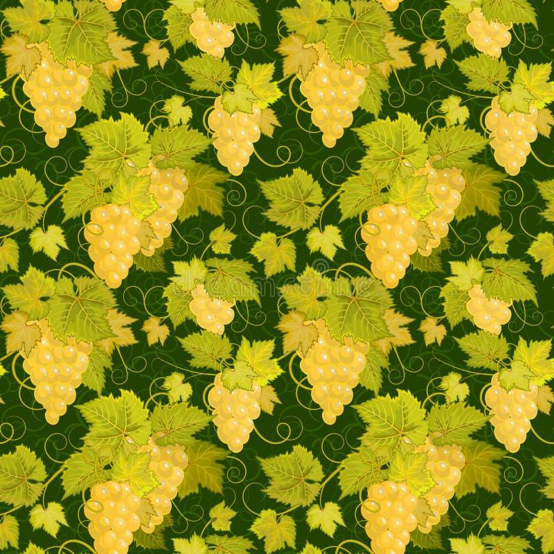Naadloos patroon met takken, bladeren en bessen van druiven op een zwarte achtergrond Vector royalty-vrije illustratie