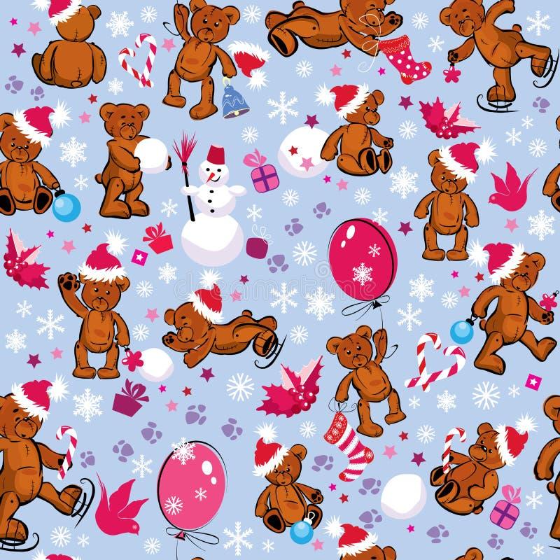 Naadloos patroon met teddyberen, sneeuwvlokken en  vector illustratie