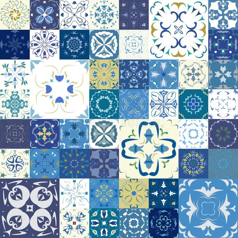 Naadloos patroon met tegels Vectorillustratie Mediterrane stijl stock illustratie