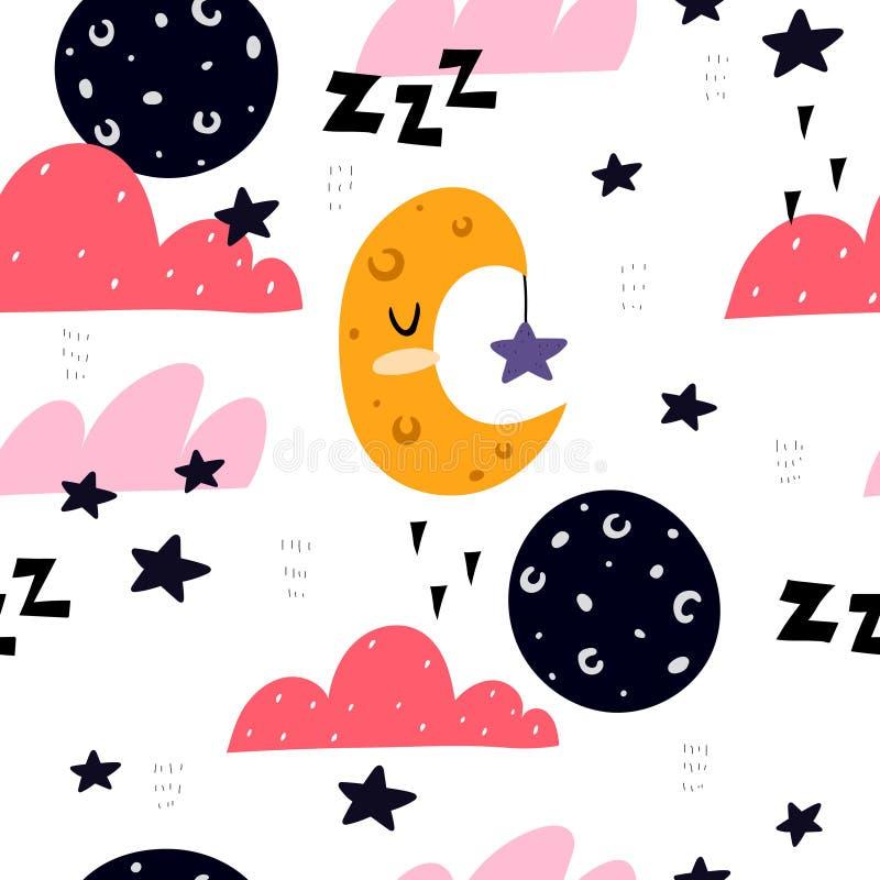 Naadloos patroon met tekenfilm, maan, crescent, sterren, decor-elementen Flat-stijl, kleurrijke vectorillustratie voor kinderen h royalty-vrije illustratie