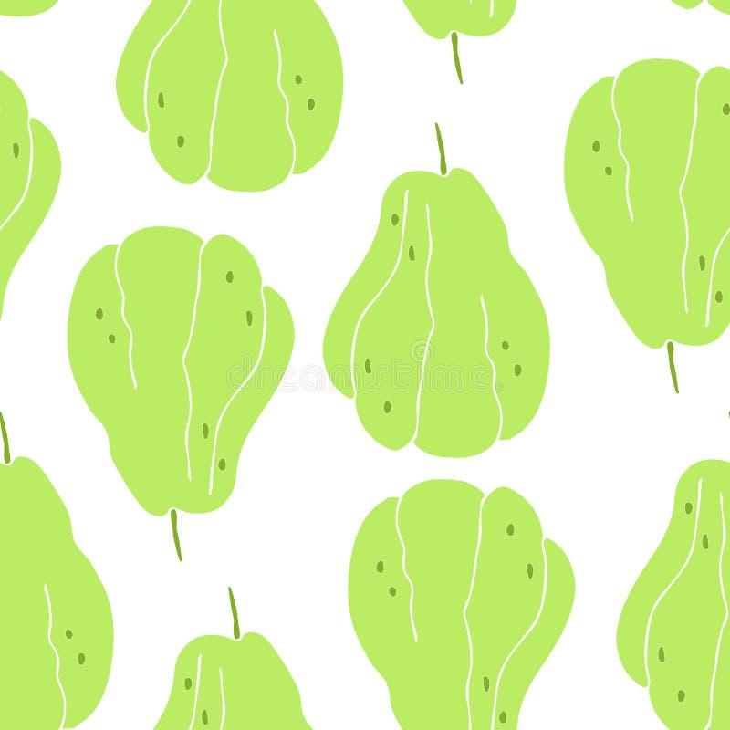 Naadloos patroon met tekening van een zeldzaam fruit - chayote, Mexicaanse komkommer royalty-vrije illustratie