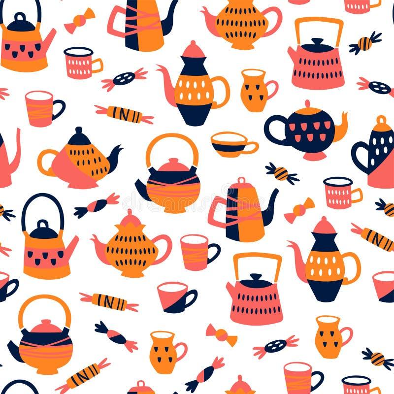 Naadloos patroon met theeelementen Achtergrond met Theepotten, Koppen en Snoepjes royalty-vrije illustratie