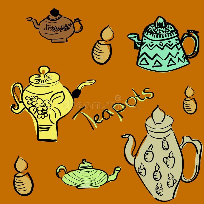 Naadloos patroon met theepotten en koppen als behang, giftomslag en plakboek Vector illustratie vector illustratie