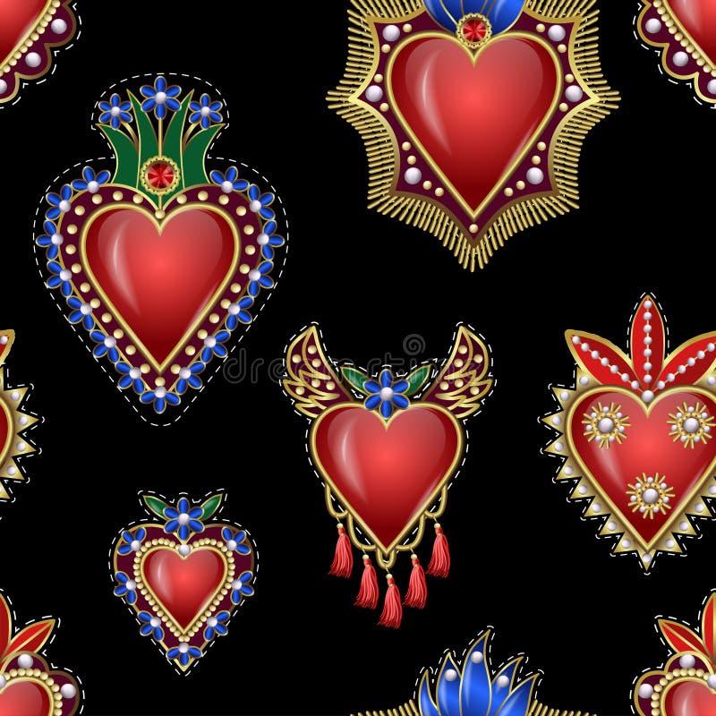 Naadloos patroon met traditionele Mexicaanse harten met brand en bloemen, geborduurde lovertjes, parels en parels Vectorflarden royalty-vrije illustratie