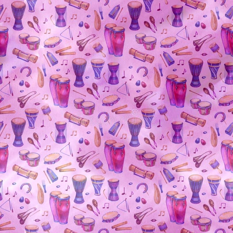Naadloos patroon met trommels en percussie in waterverfstijl en decoratieve geometrische elementen op purper roze stock illustratie