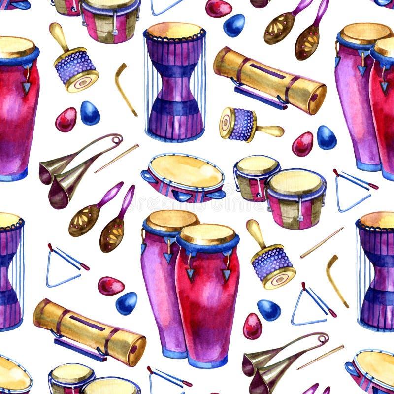 Naadloos patroon met trommels in waterverfstijl op witte achtergrond Percussie Muzikale Instrumenten Kleurrijk ontwerp voor stock illustratie