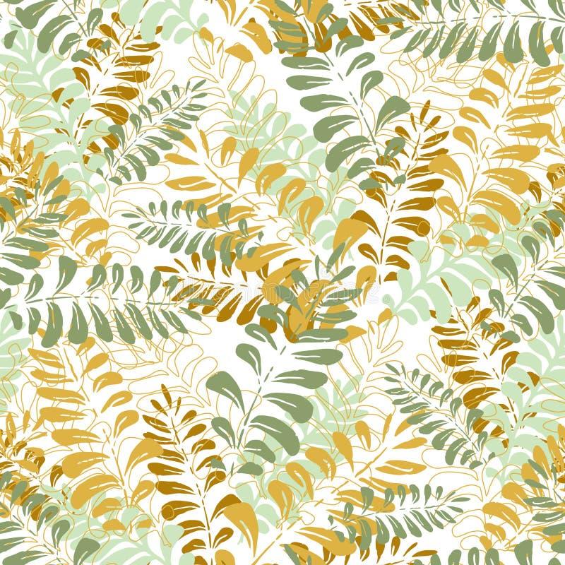 Naadloos patroon met tropische bladeren stock afbeelding