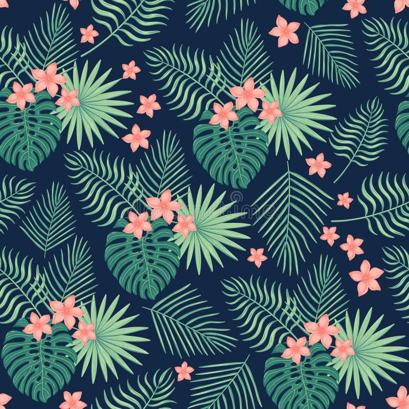 Naadloos patroon met tropische bladeren en bloemen royalty-vrije stock fotografie