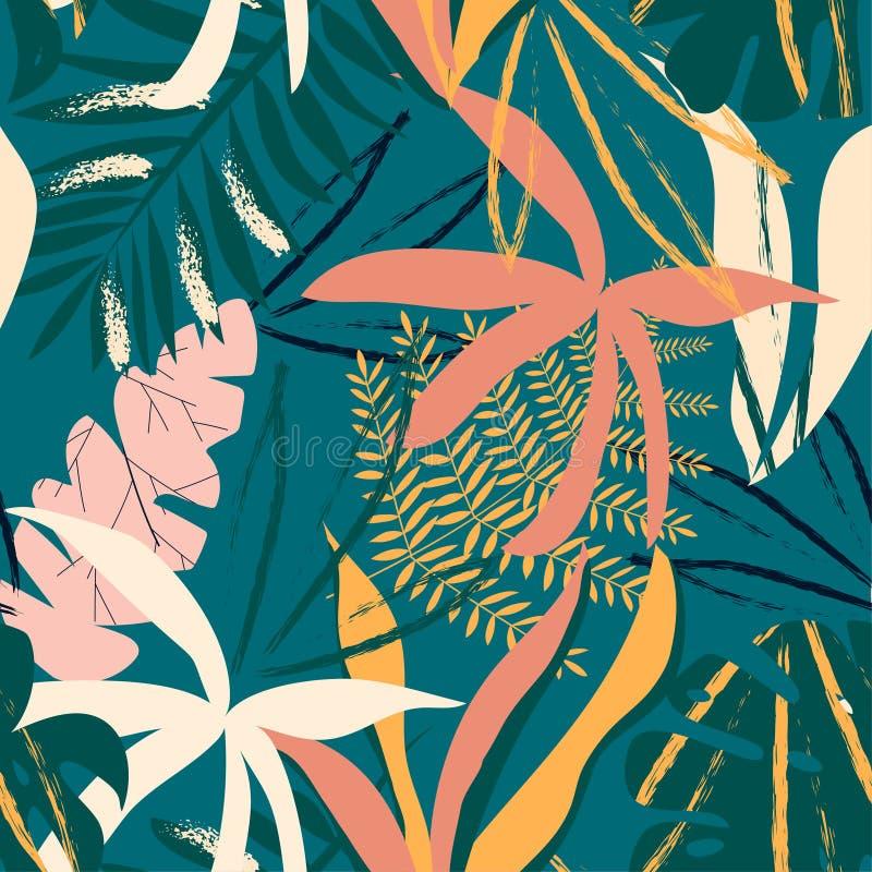 Naadloos patroon met tropische bladeren op donkergroene achtergrond Vector ontwerp Wildernisdruk Bloemen achtergrond royalty-vrije illustratie