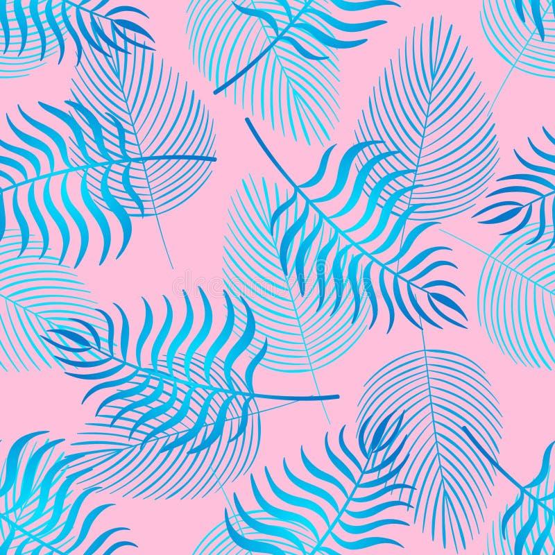 In naadloos patroon met tropische bladeren stock illustratie