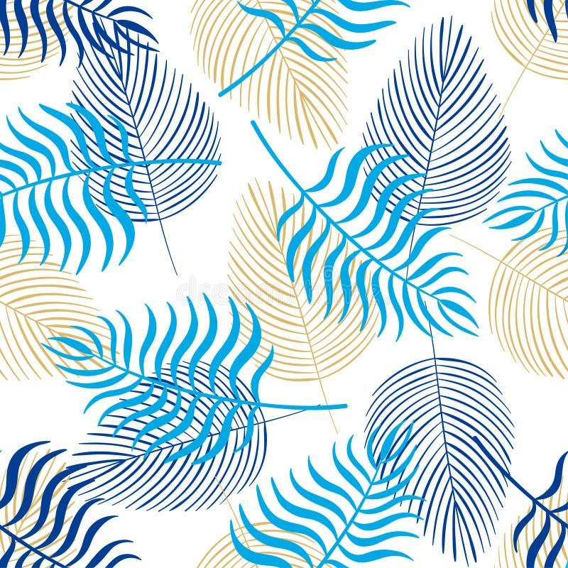 In naadloos patroon met tropische bladeren royalty-vrije illustratie