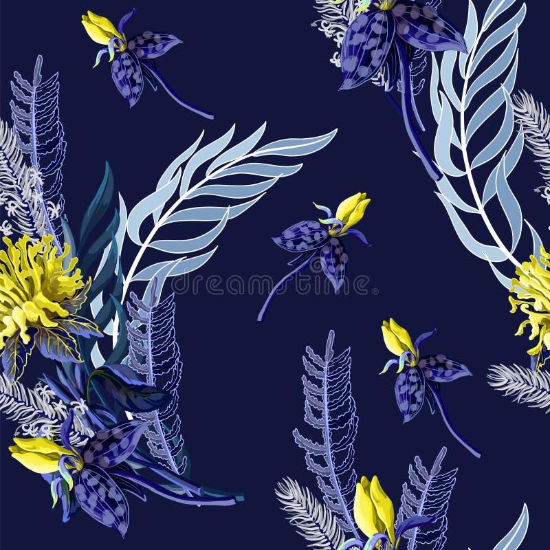 Naadloos patroon met tropische bloemen in blauwe kleur Vector illustratie stock illustratie