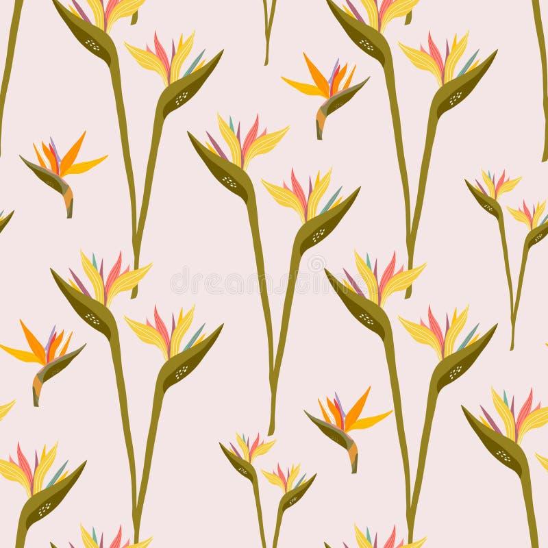 Naadloos patroon met tropische bloemen Creatieve bloementextuur Groot voor stof, textiel Vectorillustratie royalty-vrije illustratie
