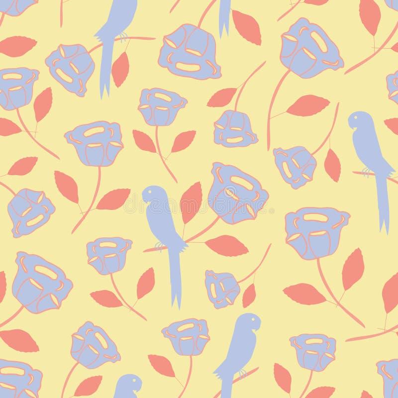 Naadloos patroon met tropische uitstekende elementen, vogels, bloemen, bladeren in purper en oranje met een gele achtergrond perf vector illustratie