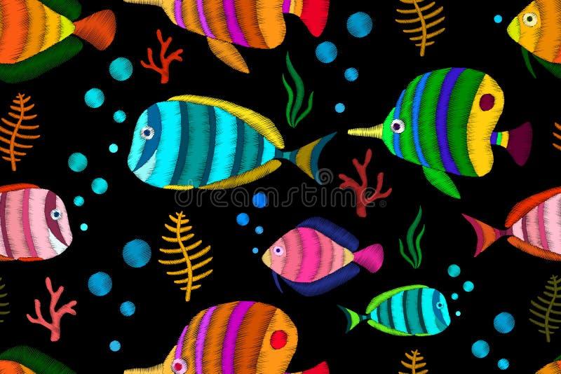 Naadloos patroon met tropische vissen vector illustratie