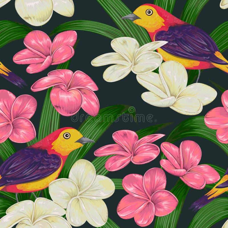 Naadloos patroon met tropische vogels, bloemen en bladeren Exotische Flora en Fauna stock illustratie