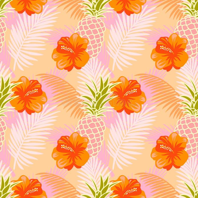Naadloos patroon met tropische vruchten, bloemen en palmbladen vector illustratie