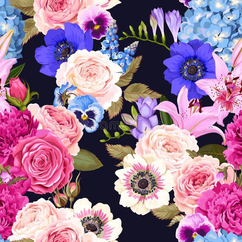 Naadloos patroon met tuinbloemen royalty-vrije illustratie