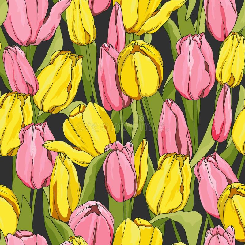 Naadloos patroon met tulpen royalty-vrije illustratie