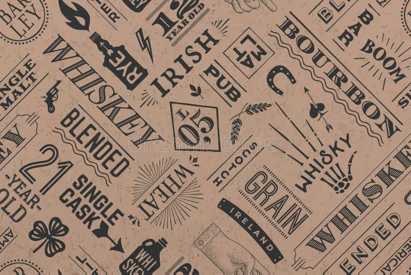Naadloos patroon met types van whisky royalty-vrije illustratie