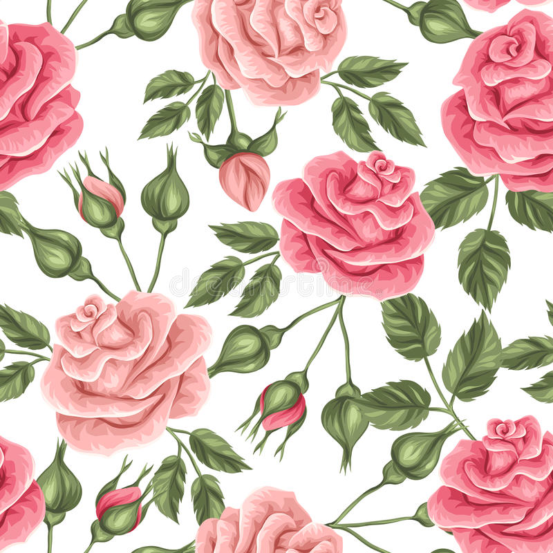 Naadloos patroon met uitstekende rozen Decoratieve retro bloemen vector illustratie