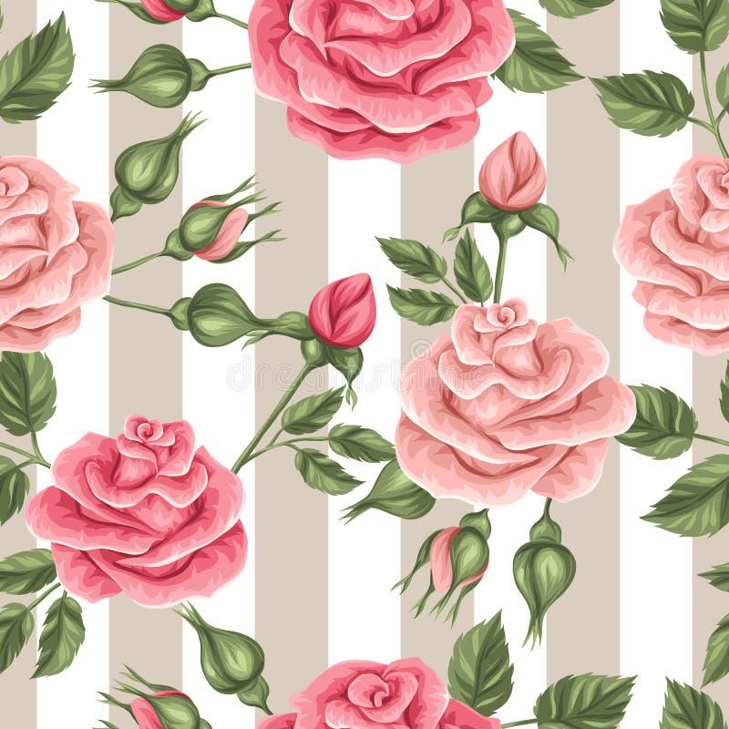 Naadloos patroon met uitstekende rozen Decoratieve retro bloemen royalty-vrije illustratie