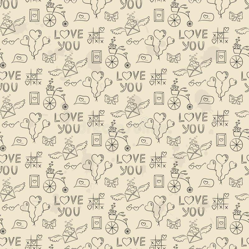 Naadloos patroon met valentijnskaart` s pictogrammen stock illustratie
