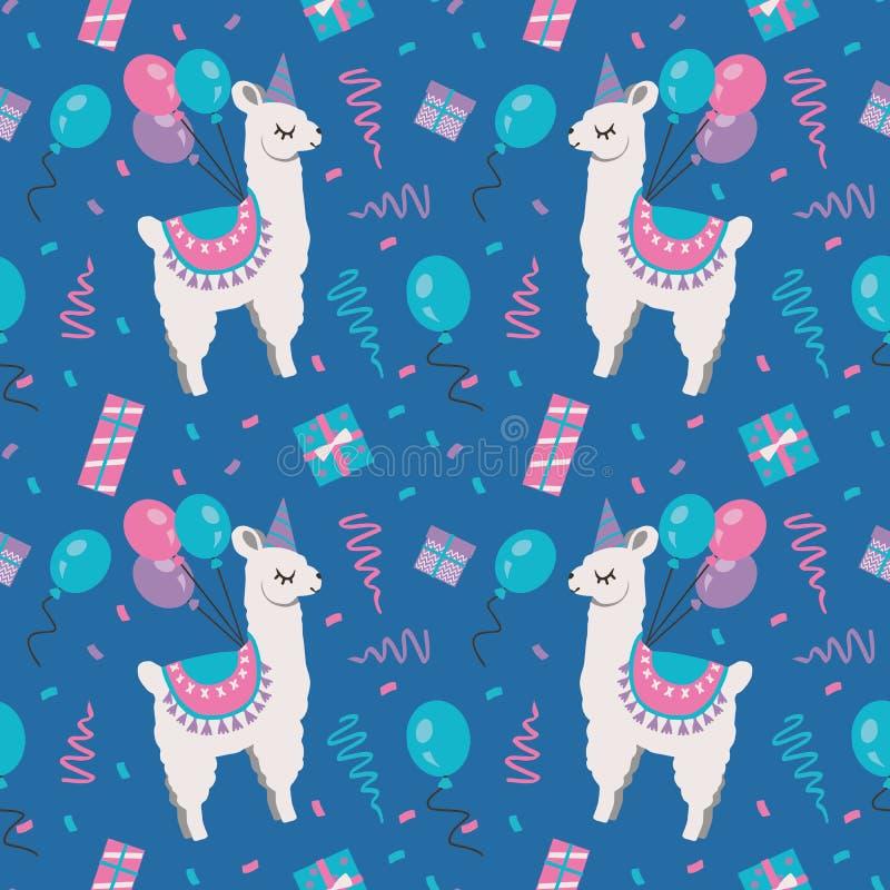 Naadloos patroon met van de beeldverhaalalpaca of Lama dieren met verjaardagsballons, confettien en giftdozen op blauwe achtergro stock illustratie