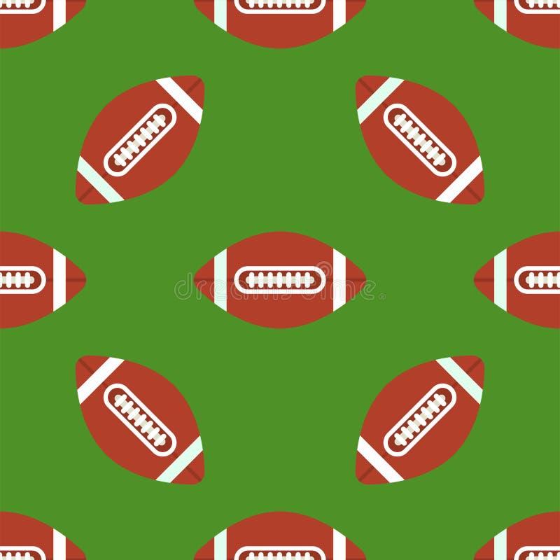 Naadloos patroon met van het de voetbalsymbool van voetbalballen vector Amerikaanse van het de sportspel van de de tegelvorm de s stock illustratie