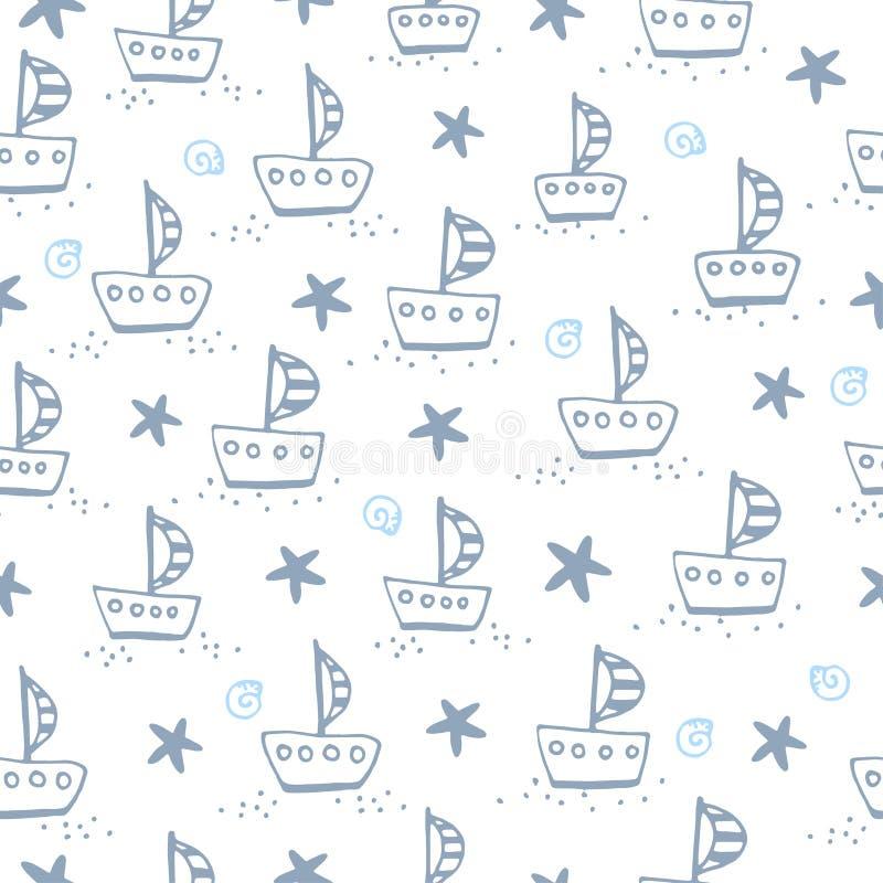 Naadloos patroon met varende boot vector illustratie