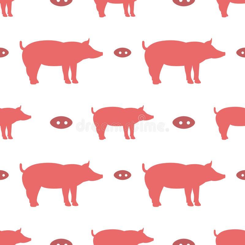 Naadloos patroon met varkens stock illustratie