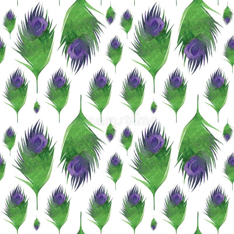Naadloos patroon met veren stock illustratie