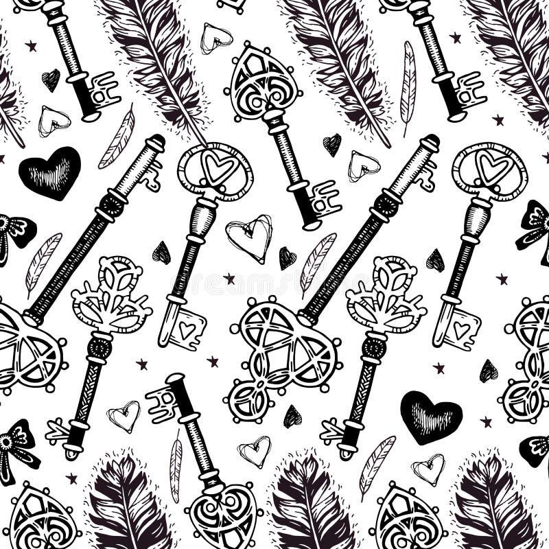 Naadloos patroon met veren en sleutels stock illustratie
