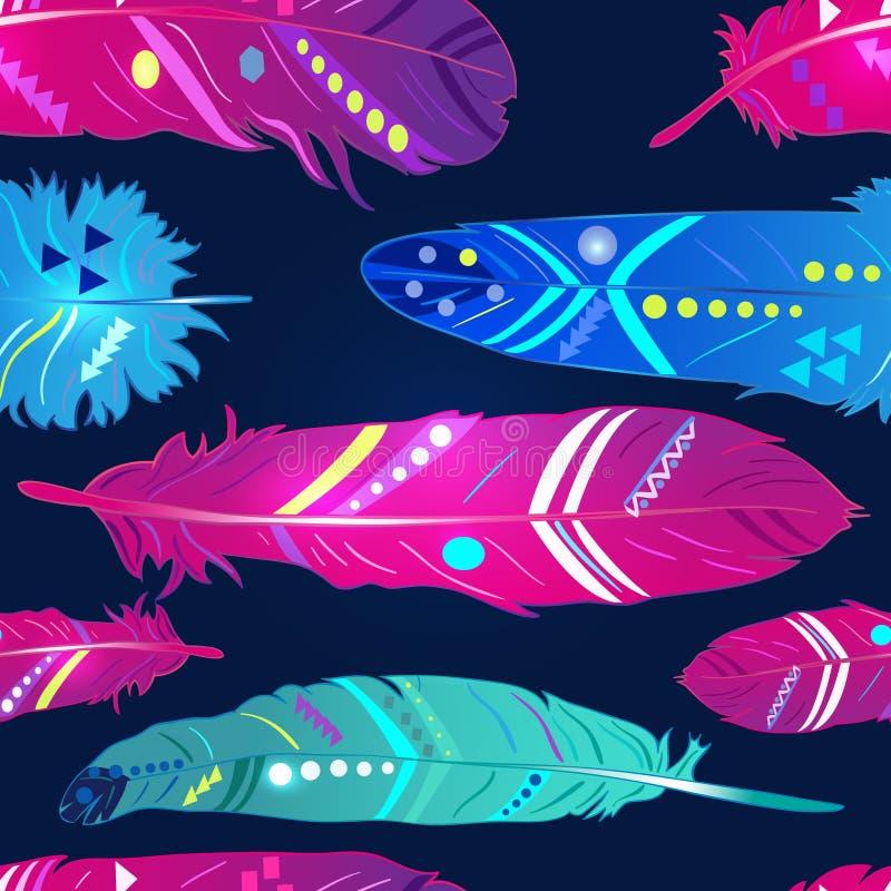 Naadloos patroon met veren in etnische stijl, helder behang royalty-vrije illustratie
