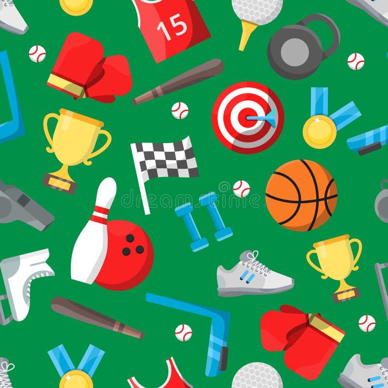 Naadloos patroon met verschillend sportmateriaal vector illustratie